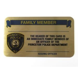 "3.5"" x 2"" Solid Brass Business/Membership card with a Full Color imprint. Made in the USA."