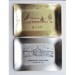 "Gold Silver Commemorative Tray/ Award Plaque - Screen Printed (4 3/4""x6 7/8"")"