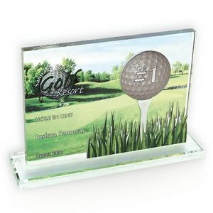 Rectangle on Base Glass Golf Award / Trophy