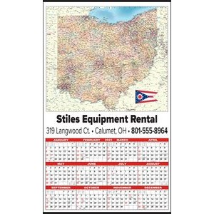 Large State Map Year-In-View® Calendar - Ohio