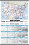 Custom Large U.S. Map Year-In-View Calendar