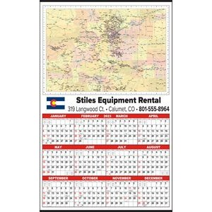 Large State Map Year-In-View® Calendar - Colorado