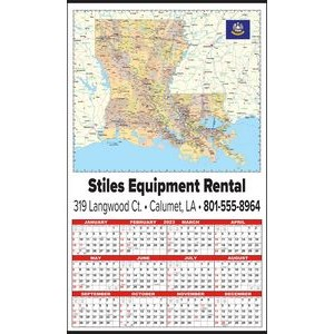 Large State Map Year-In-View® Calendar - Louisiana
