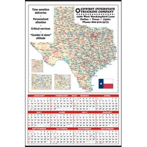 Large State Map Year-In-View® Calendar - Texas