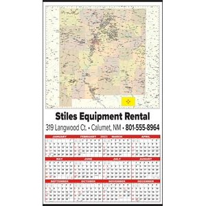 Large State Map Year-In-View® Calendar - New Mexico