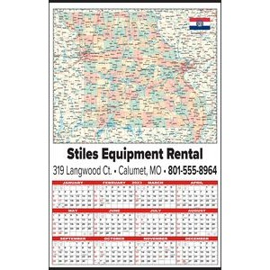 Large State Map Year-In-View® Calendar - Missouri