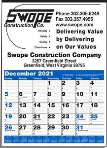 Multi-Sheet 1-Color Large Ad Calendar (Blue & Black)