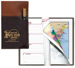 Custom Weekly Planner w/ Delano 2 Tone Vinyl Cover & Flat Gold Pen (2 Color Insert & Map)