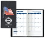 Custom Executive Vinyl Cover w/ Pre-Printed Flag - Monthly Planner (1 Color Insert)
