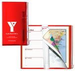 Custom Weekly Zip Back Planner & Matching Pen /1 Color Insert w/ Map & Gilded Edge -Translucent Color