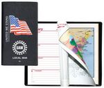 Custom Executive Vinyl Cover w/ Pre-Printed Flag - Weekly Planner w/ Map (2 Color Insert)