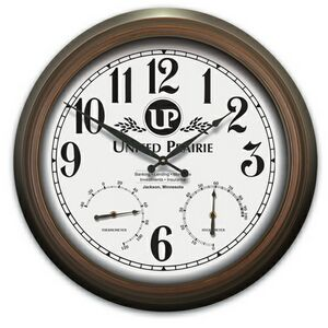product metal wall clock w temperature and humidity gauges 22