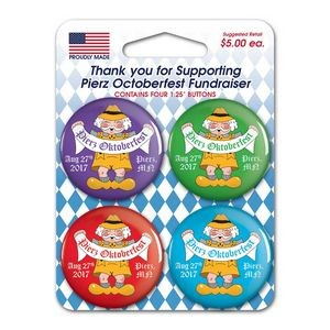 "4 Pack Carded 1.25"" Round Buttons"