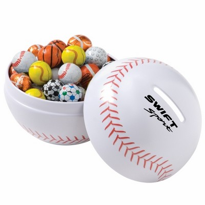 Small Themed Tin Banks - Chocolate Sport Balls