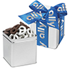 Custom Classic Present Tin w/ Chocolate and Yogurt Covered Pretzels