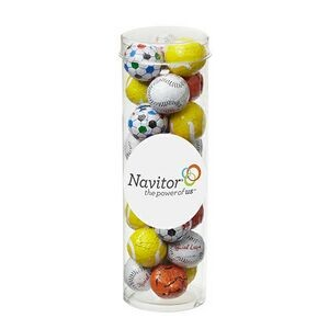 Small Tubes with Clear Cap - Chocolate Sport Balls