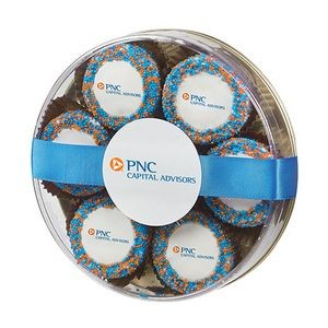 Custom Belgian Chocolate Covered Oreo® Gift - Corporate Color Nonpareil Sprinkles