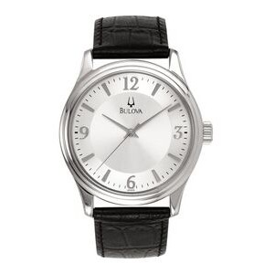 Men's Bulova® Classic Collection Silver Dial Watch w/Black Leather Strap