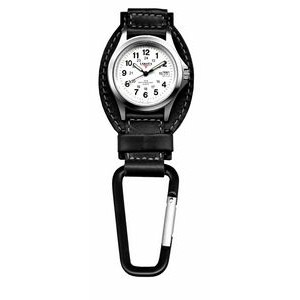 Dakota Backpacker Black Leather Field Clip Watch