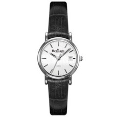 Concord Silver Ladies' Watch with Black Leather Strap