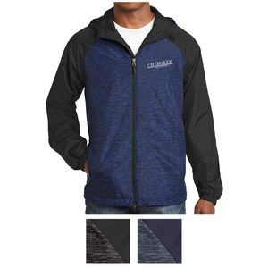 Sport-Tek® Heather Colorblock Raglan Hooded Wind Jacket