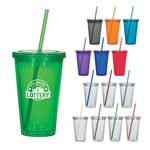Custom 16 Oz. Double Wall Acrylic Tumbler With Straw