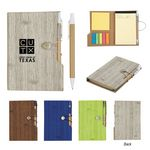 Custom Woodgrain Look Notebook With Sticky Notes And Flags