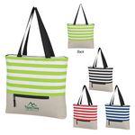 Custom Broad Stripe Zippered Tote Bag