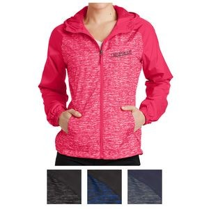 Sport-Tek® Ladies' Heather Colorblock Raglan Hooded Wind Jacket