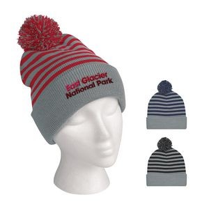 Polar Stripe Pom Beanie With Cuff