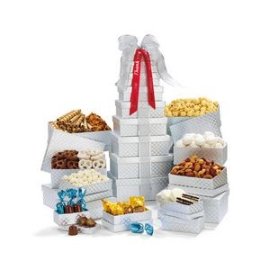 Ultimate Shimmering Sweets & Snacks Gourmet Tower Silver