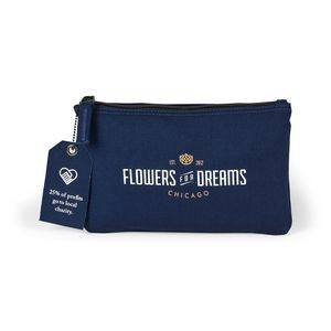 Avery Cotton Zippered Pouch Blue-Navy