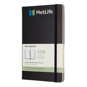 Moleskine Hardcover Large 12-Month Weekly 2018 Planner Black