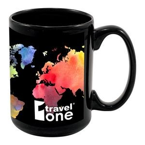 15 oz Full Color Black Stoneware Magna Mug