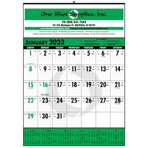 Bid Master® Commercial Wall Calendar w/ 3 Color Imprint