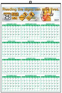 13x19 Year at A Glance Wall Calendar w/ 1/2x1/2 Date Box