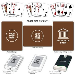 Solid Back Brown Poker Size Playing Cards