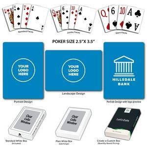 Solid Back Sky Blue Poker Size Playing Cards w/Regular Face