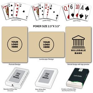 Solid Back Tan Poker Size Playing Cards w/Regular Face