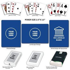 Solid Back Royal Poker Size Playing Cards w/Regular Face