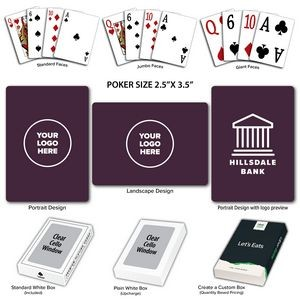 Solid Back Plum Poker Size Playing Cards