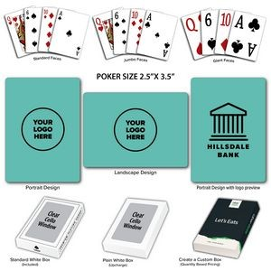 Solid Back Aqua Poker Size Playing Cards