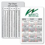 Custom Caldex Business Card w/ Vertical Calendar & Tip Chart
