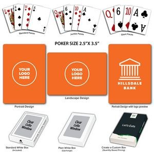 Solid Back Orange Poker Size Playing Cards