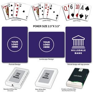 Solid Back Purple Poker Size Playing Cards w/Regular Face