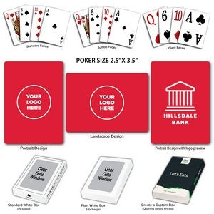 Solid Back Red Poker Size Playing Cards w/Regular Face