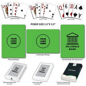 Solid Back Lime Poker Size Playing Cards