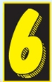 Custom Stock Removable Adhesive Auto Numbers (Number 6)