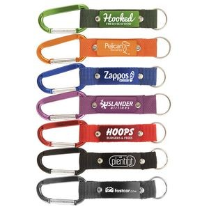 Strap Happy Keychain - Laser Engraved Key Tag with Carabiner & Mesh Strap