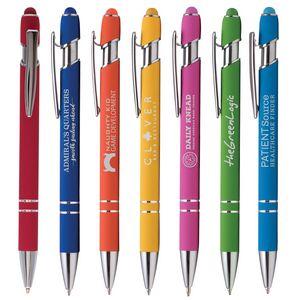Ellipse Softy Brights w/Stylus - Laser Engraved Metal Pen